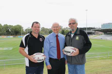 Former chairman Jack Rhea (right) with RLI manager Brendon Lindsay and federal MP Shayne Neumann.