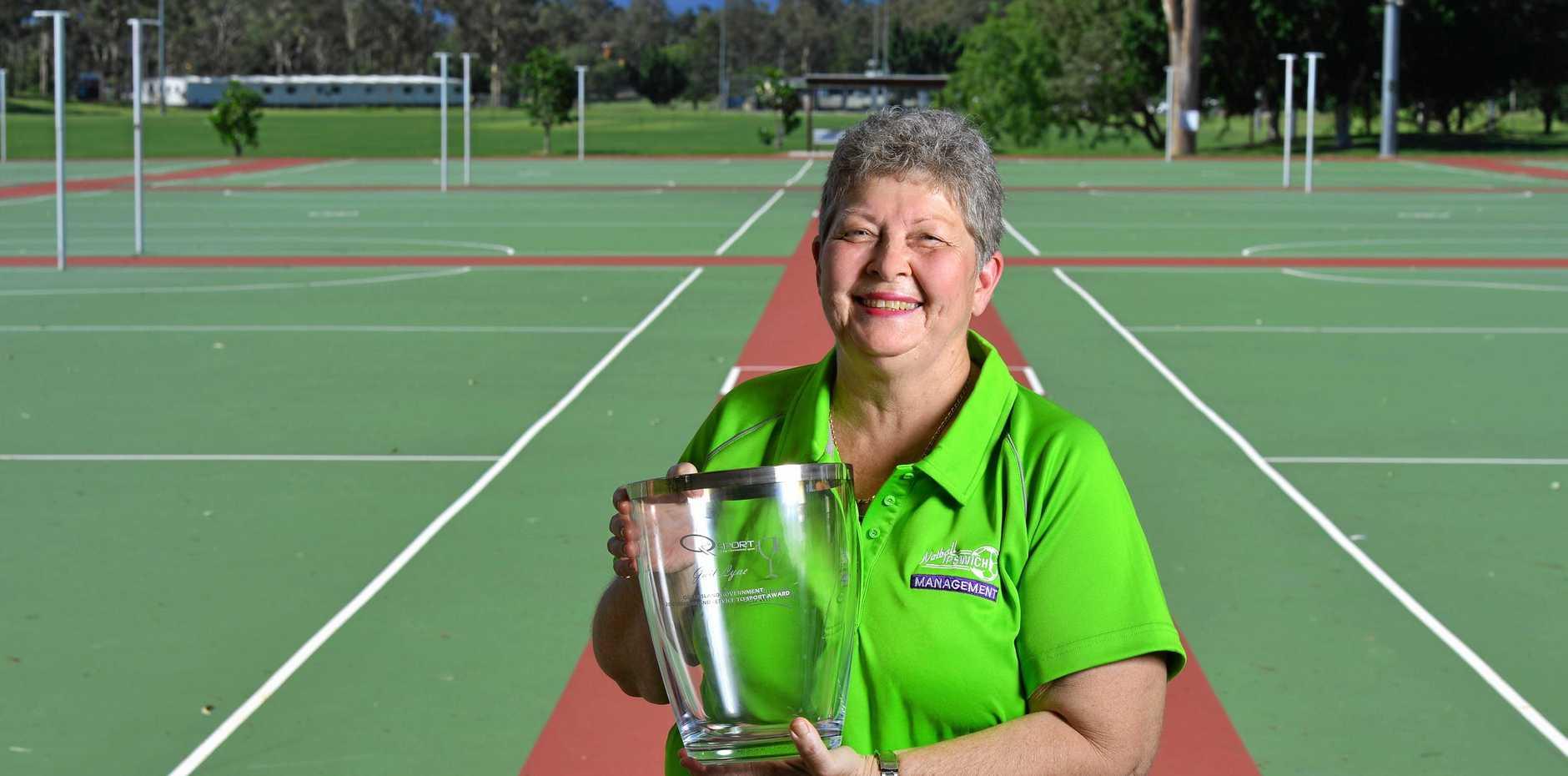 Long-serving Ipswich Netball Association president Gail Lyne has been awarded a Queensland Service to Sport Award.