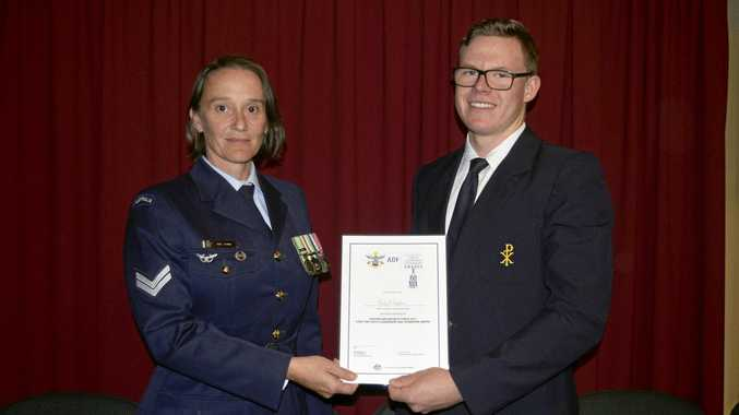 QUALITIES RECOGNISED: Corporal Lisa Johns with Clarence Valley Anglican School Year 12 student Cody Stephens, who won an ADF Long Tan Youth Leadership and Teamwork Award.