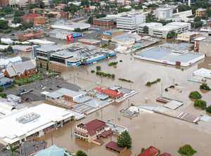 Ipswich CBD looking west during the 2011 floods. Coles in centre, Ipswich Hospital top left of frame.