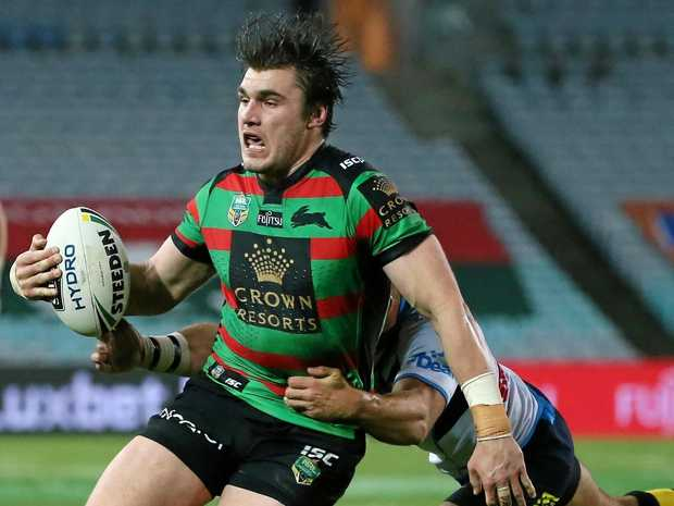 Angus Crichton on the run for the Rabbitohs.