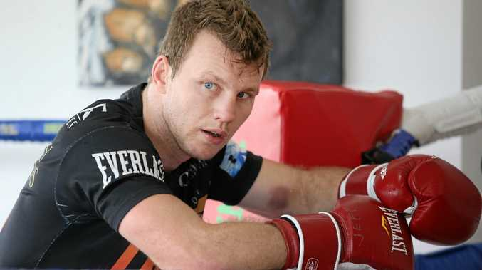 Jeff Horn takes a break from training ahead of his weltherweight showdown with Englishman Gary Corcoran.