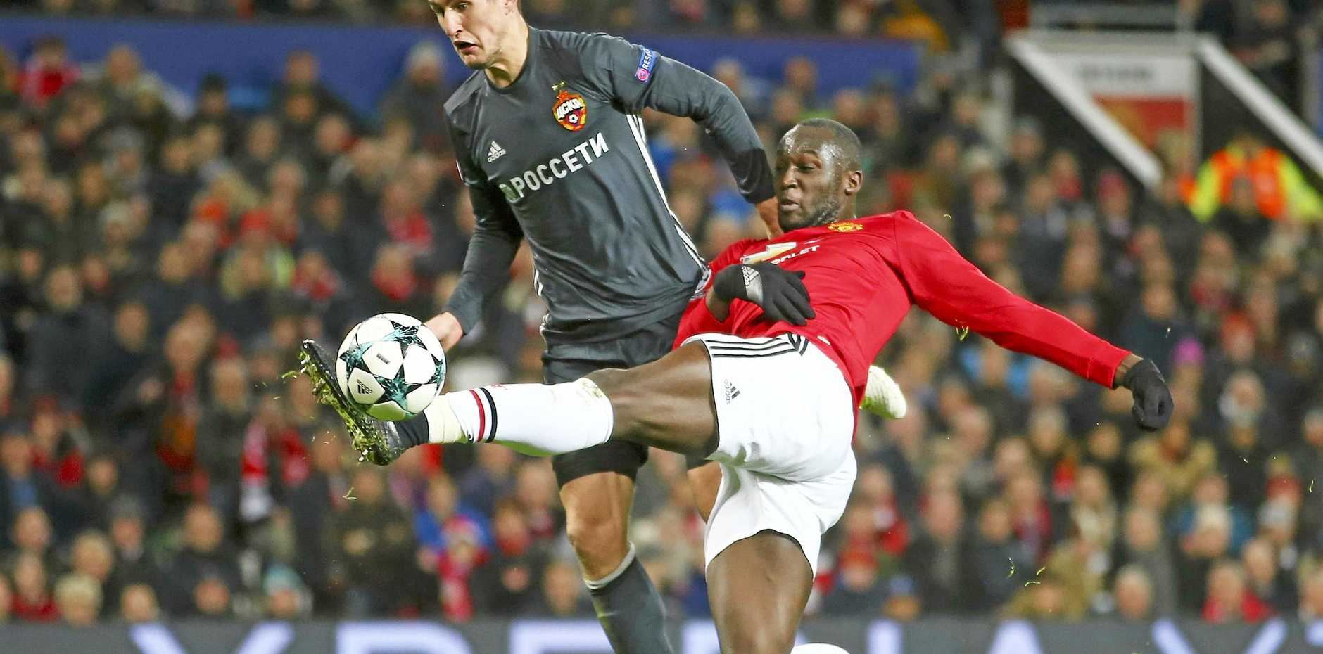 Romelu Lukaku (right) scores Mancherster United's opening goal against CSKA Moscow.