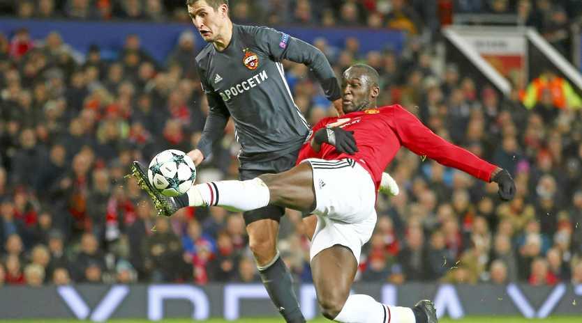 Romelu Lukaku (right) scores Mancherster United's opening goal against CSKA Moscow.