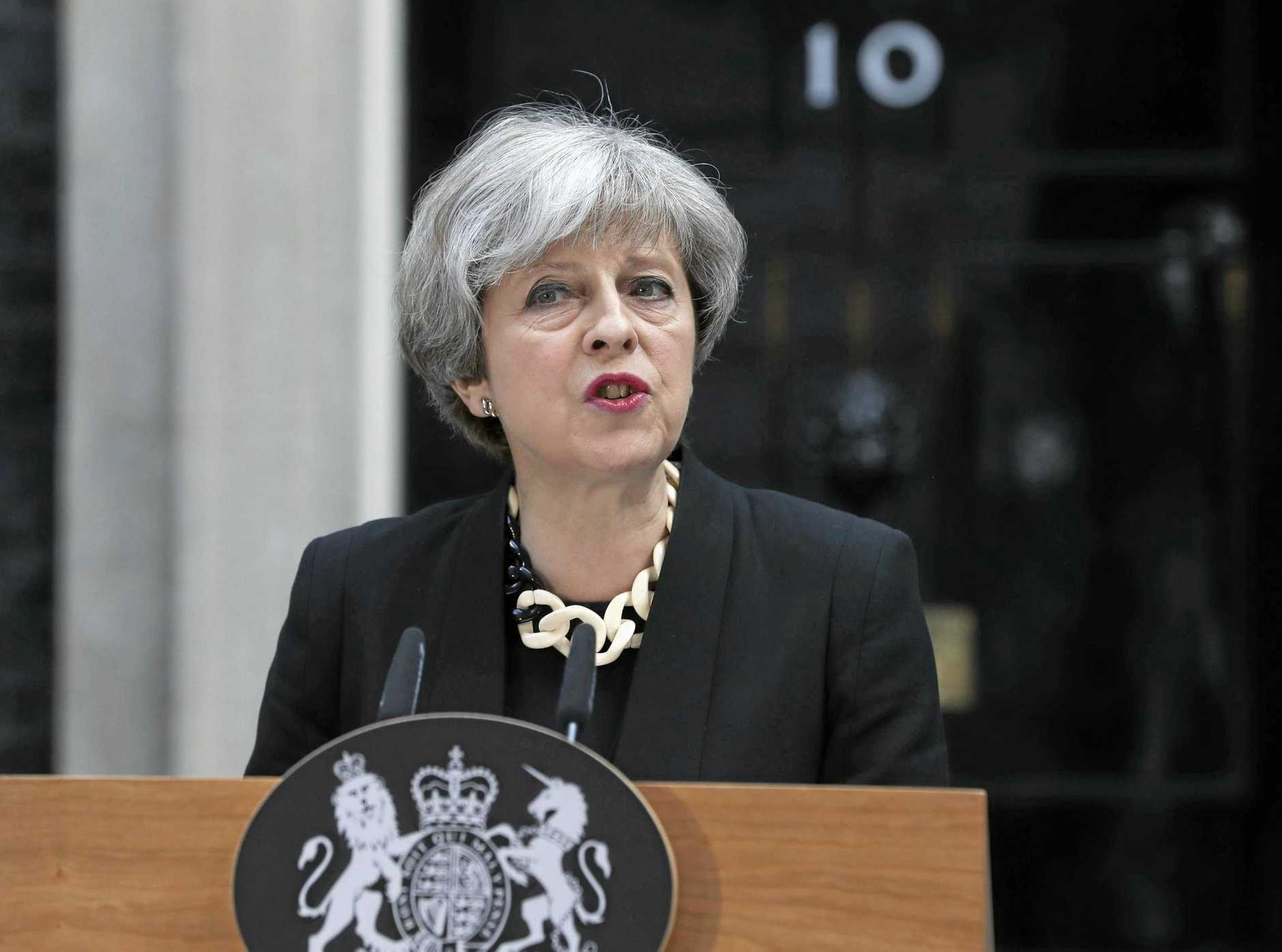 Britain's Prime Minister Theresa May makes a statement outside her residence, 10 Downing Street, London.