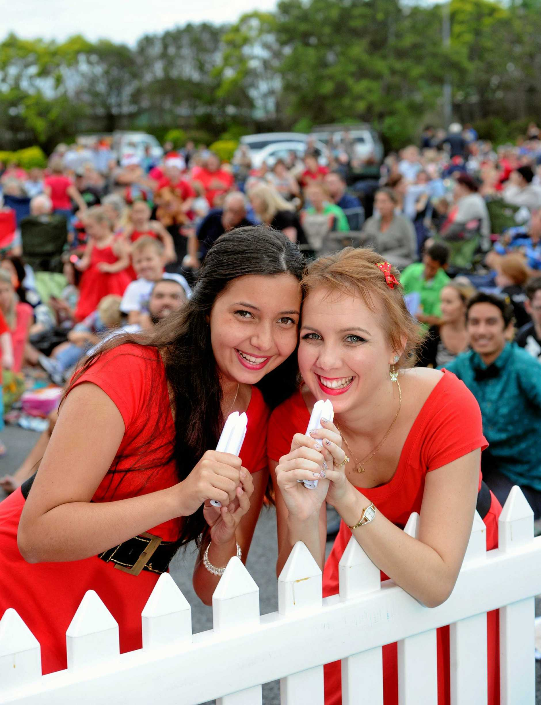 Carols by Candlelight in the Brolga Theatre grounds- Singers Sarah-Jane Laksham and Kaitlun Spalding from the Maryborough Show Choir ready to perform on stage.  Photo : Robyne Cuerel / Fraser Coast Chronicle