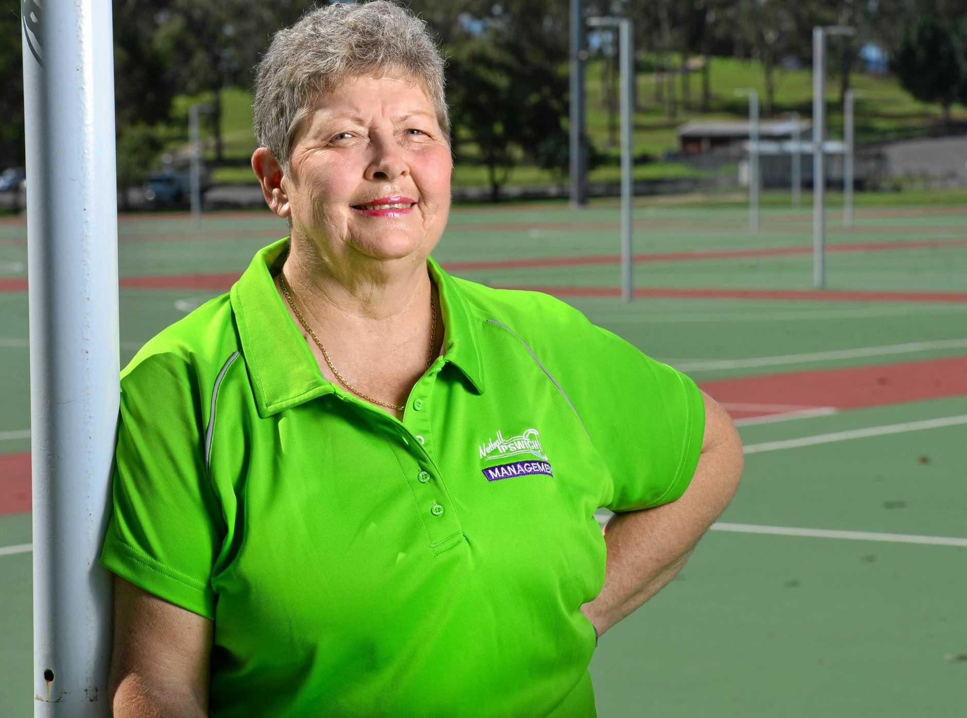 Long-serving Ipswich netball official Gail Lyne.