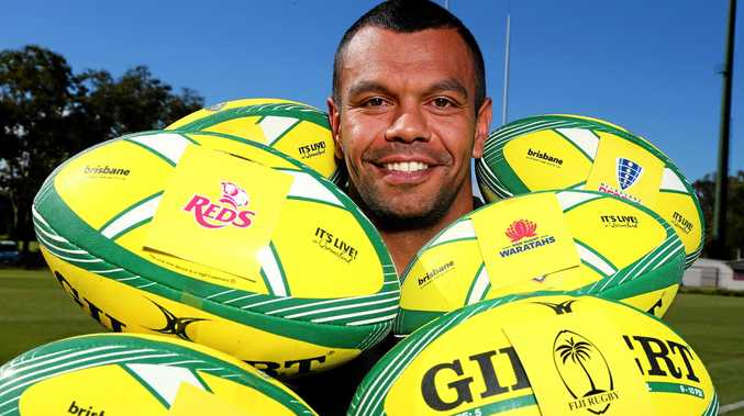 Waratahs and Wallabies star Kurtley Beale at the draw for the Brisbane Global Rugby Tens tournament.