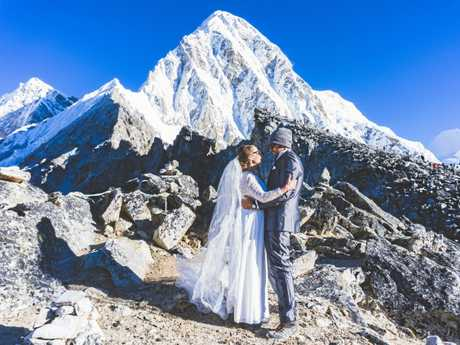 LOVED UP: Heidi Turunen and Tom Rein marry at Everest Base Camp.