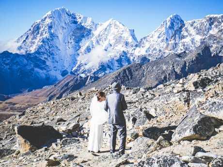 Heidi Turunen and Tom Rein got married at Everest Base Camp.