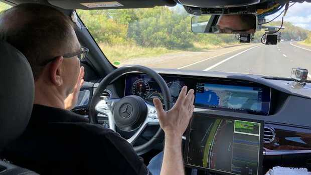 Senior Mercedes engineering executive Jochen Haab with the Level 3 autonomous driving test Sydney to Melbourne last month. Picture: Joshua Dowling