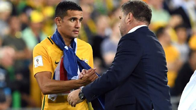 Australia's Tim Cahill (L) talks to coach Ange Postecoglou.