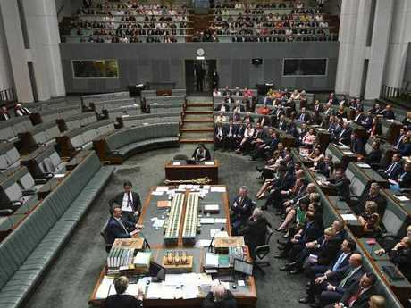 Overview of the final vote on the Marriage Amendment Bill in the House of Representatives at Parliament House in Canberra, Thursday, December 7, 2017. (AAP Image/Lukas Coch)