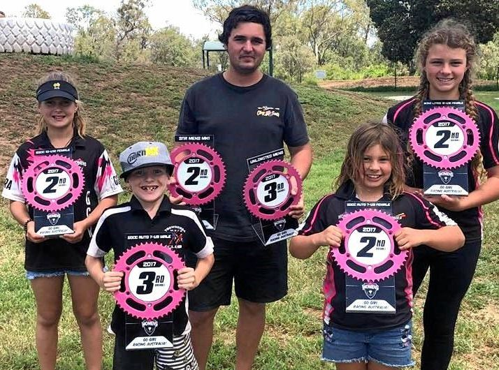 Toowoomba Motocross Club winners (back from left) Georgia Say, Jaydon Robinson, Alana Schultz and (front) Sophie-Lee Schultz and Cooper Say.