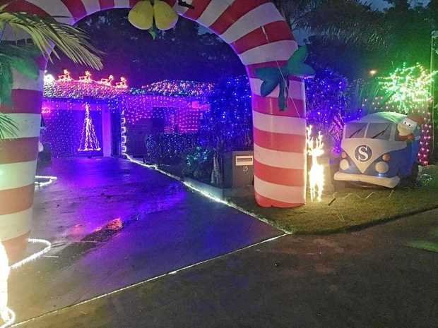 ALL IS BRIGHT: This home at 15 Kingsmill Circuit, Peregian Springs, is drawing people from far and wide to see its Christmas lights display.