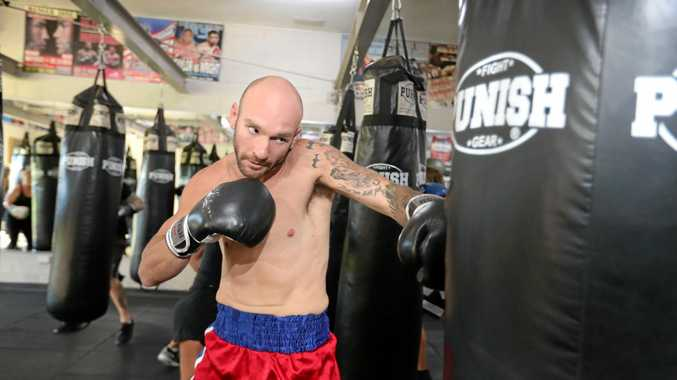 Gold Coast boxer Troy Harding has lost 40kg after a deathbed wish from his dad to get back into the sport. He has a fight in Yamba coming up on the weekend.Photo by Richard Gosling