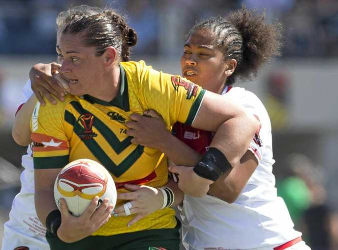 The new competition could uncover the next Jillaroos player from the region like Warwick's Steph Hancock pictured playing in the 2017 Women's Rugby League World Cup.