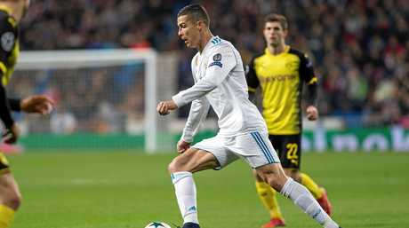 Real Madrid's Cristiano Ronaldo on the move in the Champions League clash against Borja Mayoral.