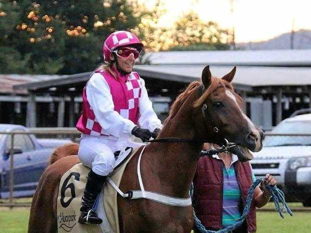 WINNER: Jockey and part-owner Renee Dawkins won riding with PVE Remington at the Gympie Races last week.