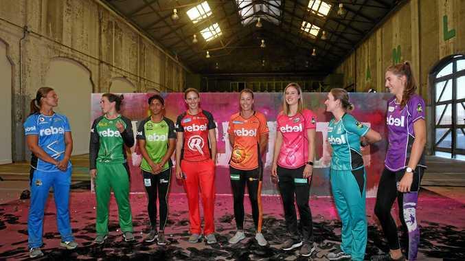 Team captains gather for the launch of the Women's Big Bash League season.
