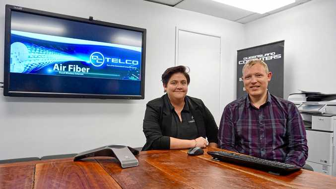 NEW SERVICE: Queensland Computers Kristy Hayes and Geoff Augutis are providing their Air Fiber fixed wireless internet service to businesses.