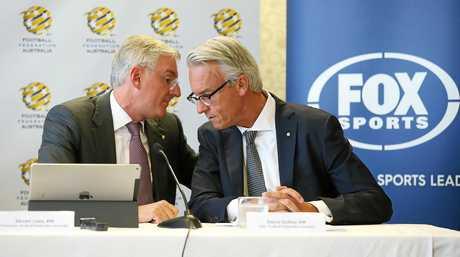 FFA chairman Steven Lowy (left) speaks with FFA CEO David Gallop.