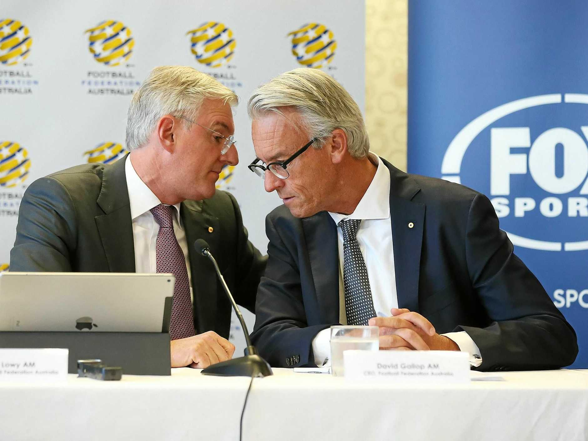 FFA chairman Steven Lowy (left) speaks with FFA CEO David Gallop.