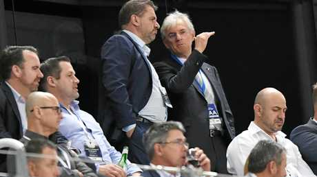 Steven Lowy (right) with former Socceroos head coach Ange Postecoglou.