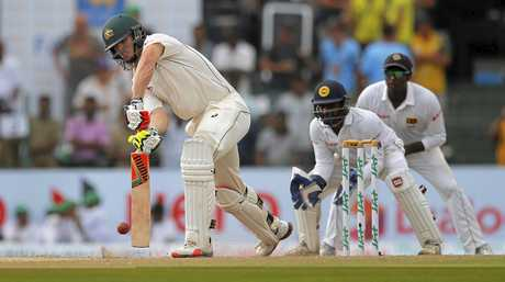 Mitchell Marsh in action for the Australian Test team.