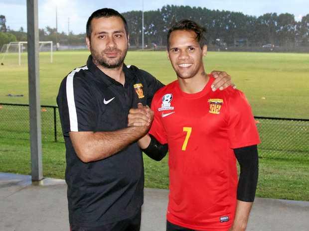 Sunshine Coast Fire head coach Ali Demircan welcomes new signing Chris Swain.