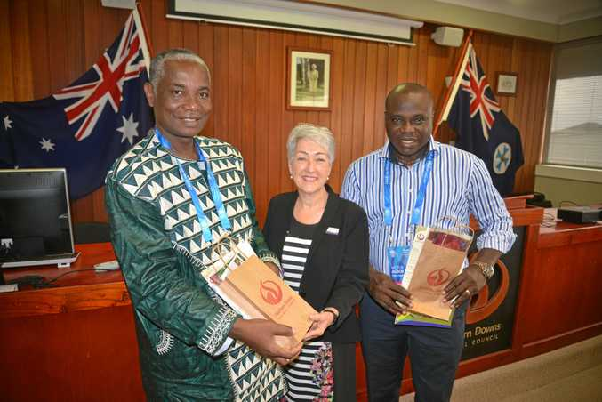COMING SOON: Cameroon Commonwealth Games team manager Alphonse Benoit Essama (left) and chef de mission Victor Agbor Nso (right) with Southern Downs Regional Council mayor Tracy Dobie.