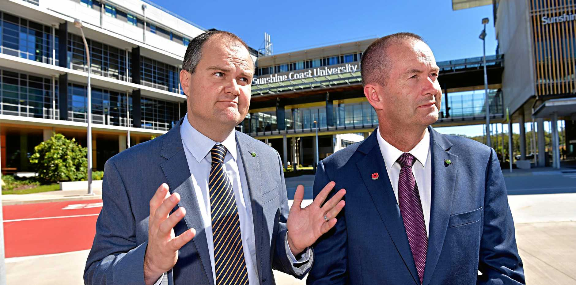 WANTED PROTECTIONS: Member for Fisher Andrew Wallace (right) and Member for Fairfax Ted O'Brien spoke after the historic passing of same sex marriage bill.