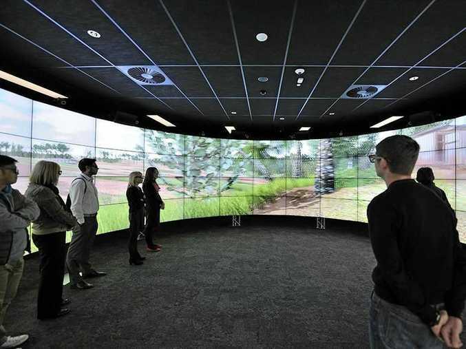 USC engineering students using the university's Cave2 visualisation technology.