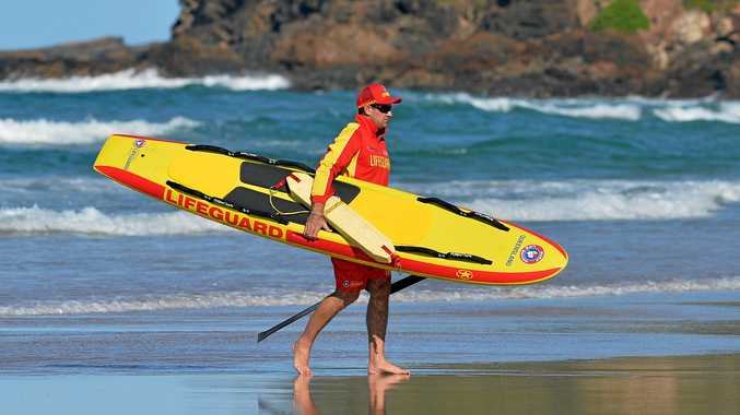 Lifeguard Luke Paterson was involved in the 'mass rescue' at Coolum Beach yesterday.