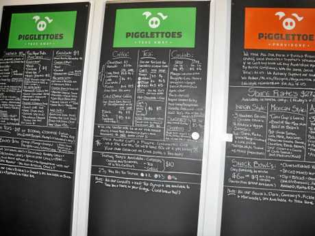 The impressive menu at Pigglettoes.