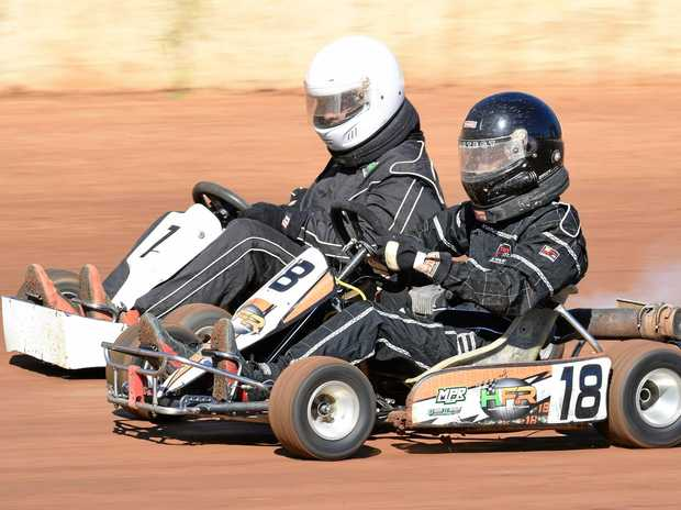 KARTS: Trent Sanderson and Blake Hancock at the track earlier this year and (right) Ashleigh Moller.