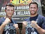 Jeff Horn & Gary Corcoran to unveil giant Battle of Brisbane 2 banner. Pic Annette Dew