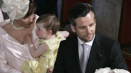 Ari Behn with his daughter Leah Isadora (R) and his then wife, Norway's Princess Martha Louise (L), with their oldest daughter Maud Angelica, during the start of the christening ceremony 16 June 2005. Picture: AFP