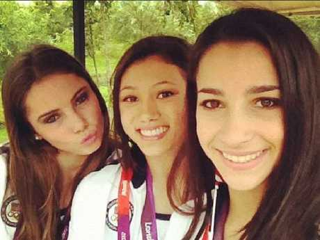 US gymnasts McKayla Maroney, Kyla Ross and Aly Raisman