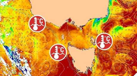 Sea surface temperatures around Victoria and Tasmania are warmer than around Sydney. Picture: Bureau of Meteorology.