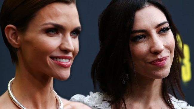 Ruby Rose and Jessica Origliasso at the Pitch Perfect 3 premiere in Sydney.