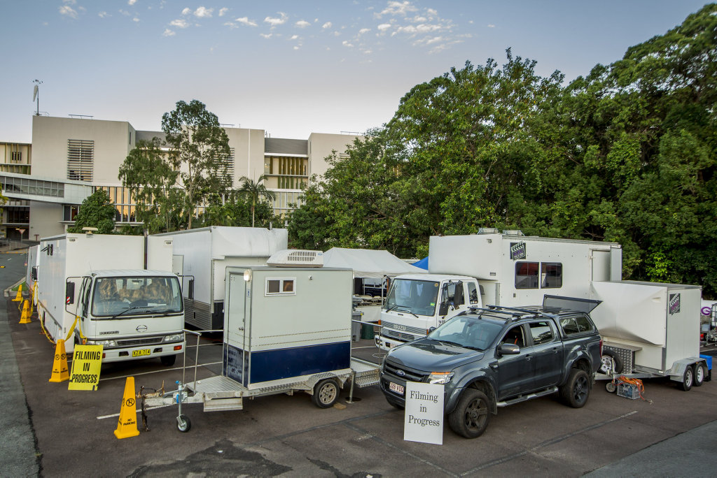 Unit base for the cast and crew of the Australian drama series Harrow, which filmed for three days at Nambour Hospital this past week.