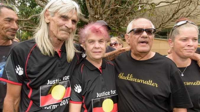 Hector Daley, Thelma Davis and Gordon Davis outside Coffs Harbour Court House.