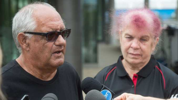 Lynette Daley's step father Gordon Davis and mother Thelma Davis speak to the media outside Coffs Harbour court house after two men were senteced in relation to Lynette's death.