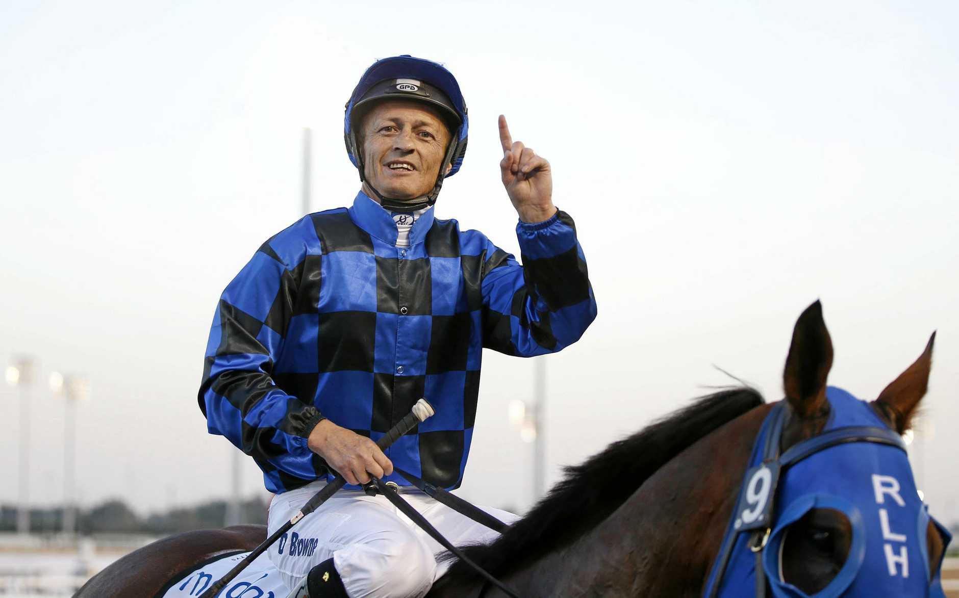 INDUSTRY VETERAN: Champion Coast jockey Damian Browne leading Buffering at the Dubai World Cup.