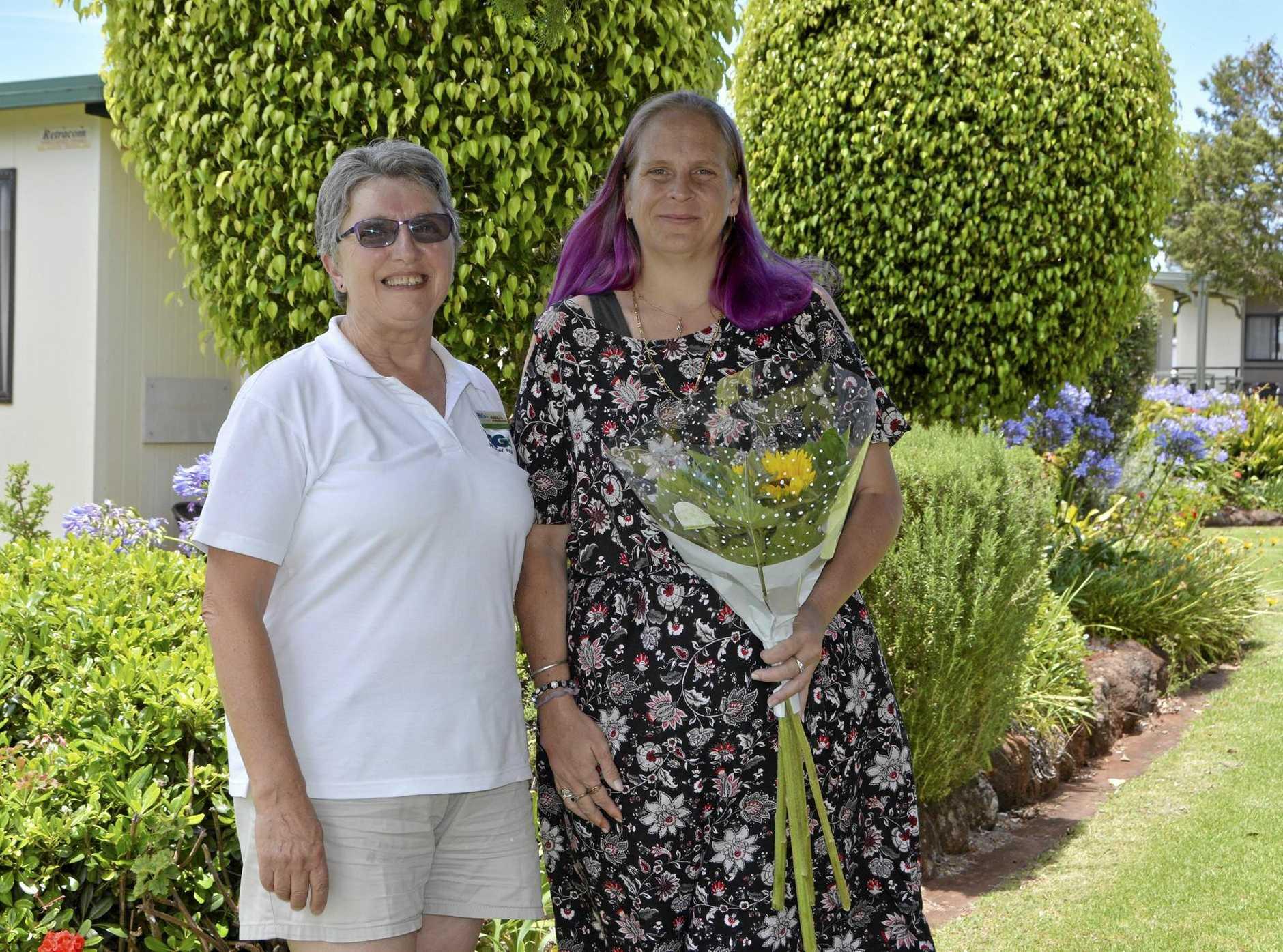 NICE GESTURE: Maralyn Middleton (left) thanked Michelle Wilson for returning her wedding tape.