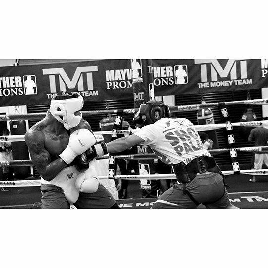 Sparring at Mayweather's Boxing Club with World Rated number 8 at the time J'leon Love in preparation for his fight against Jason Escalera in 2015.