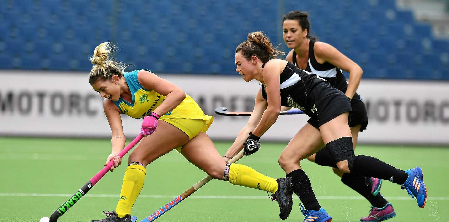 Ipswich Hockeyroos player Jordyn Holzberger outruns her New Zealand opponent during a World League semi-final match in Belgium earlier this year.
