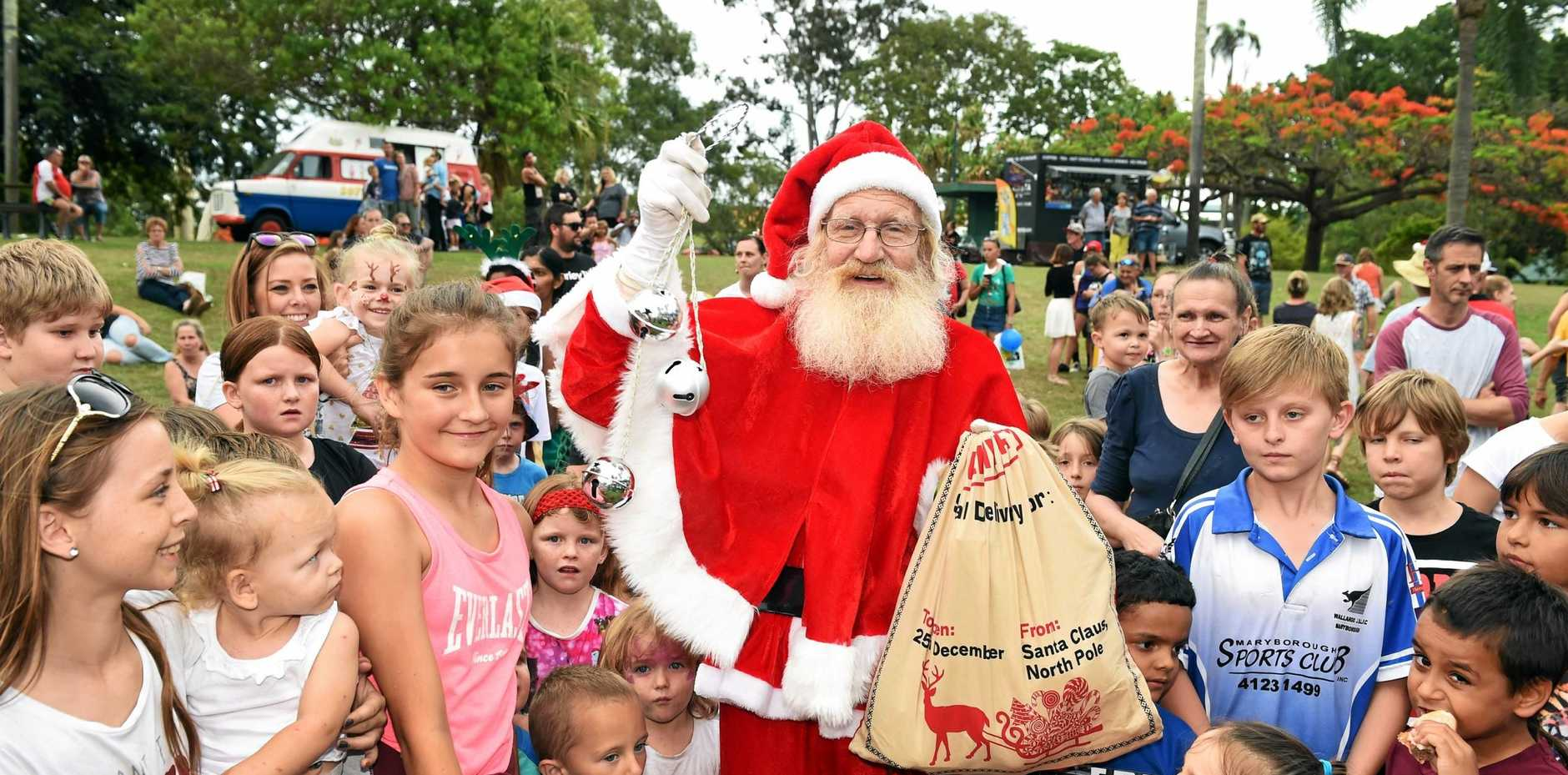 Santa arrived in the Apex train to join in the Santa fair at last year's Fraser Coast Carols in the Park and Apex Santa Fair. This year's event will be held at the Maryborough Showgrounds.