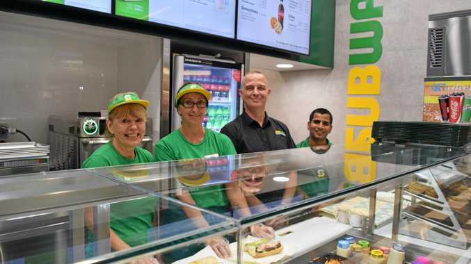 Ruth Peters, Leah Fox, Mark Noe and Vivek Mehta celebrate the opening of the new Subway store in Rose City Shoppingworld food court.